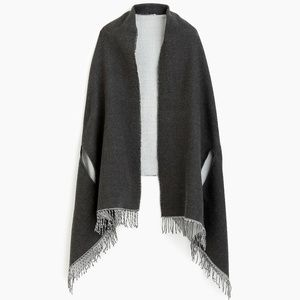 NWT J. Crew Reversible Fringed Poncho Cape Wrap